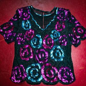 Vtg party shirt: silk, sequins, shoulder pads!